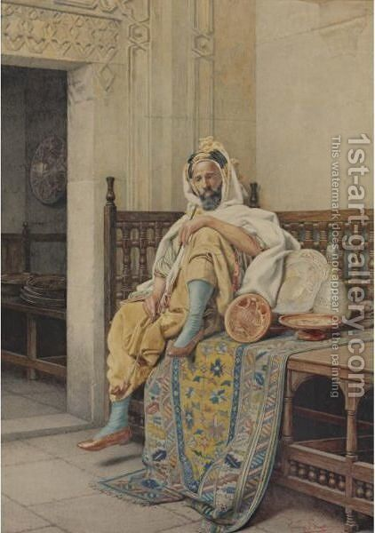 A Pottery Vendor At The Bazaar With His Wares by Guiseppe Signorini - Reproduction Oil Painting