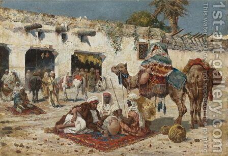 Caravan At Rest by Giuseppe Gabani - Reproduction Oil Painting