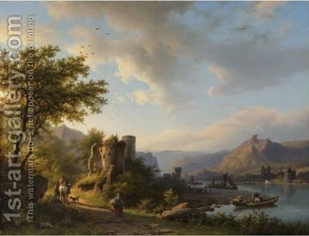 A Landscape With Travelers And Boats Along The Moselle River by Barend Cornelis Koekkoek - Reproduction Oil Painting