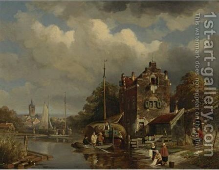 A Busy Day On The Canal by Jacques Carabain - Reproduction Oil Painting