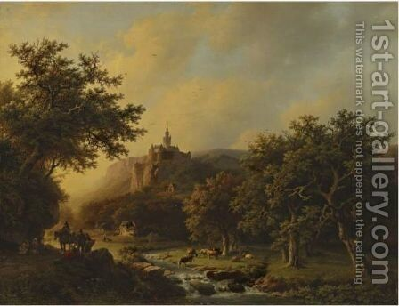 Landscape With Castle by Barend Cornelis Koekkoek - Reproduction Oil Painting