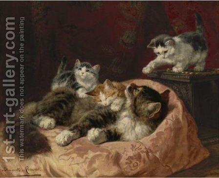 Hello There by Henriette Ronner-Knip - Reproduction Oil Painting