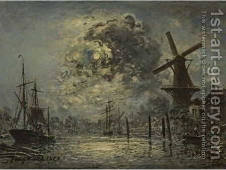 A Canal Near Leiden by Johan Barthold Jongkind - Reproduction Oil Painting