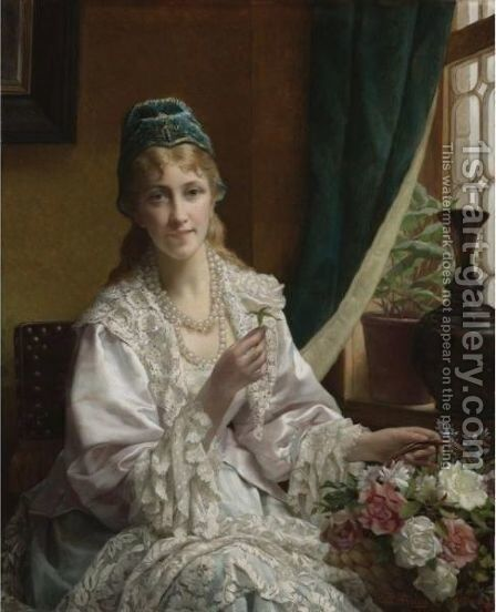 The White Rose by Jan Frederik Pieter Portielje - Reproduction Oil Painting