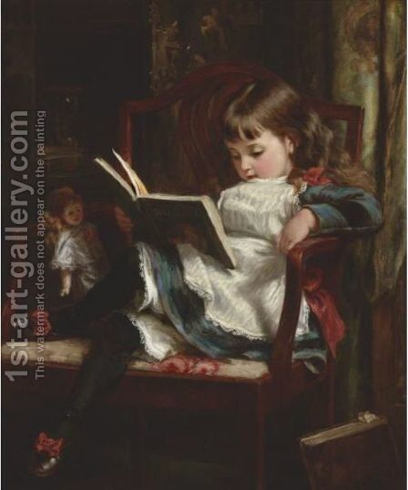 Reading Bluebeard by Alfred Morgan - Reproduction Oil Painting