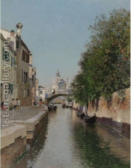 A Venetian Canal, Santa Maria Della Salute In The Distance by Martin Rico y Ortega - Reproduction Oil Painting