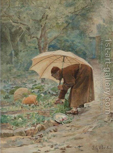 The Monk's Vegetable Garden by Jehan Georges Vibert - Reproduction Oil Painting