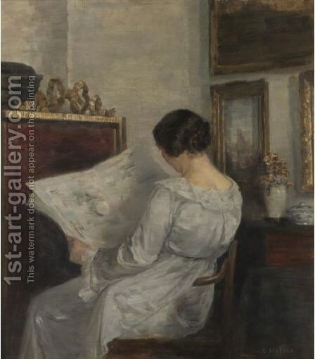 Woman Reading The Newspaper by Carl Vilhelm Holsoe - Reproduction Oil Painting