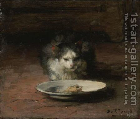 The Cat's Repast by Claude Joseph Bail - Reproduction Oil Painting