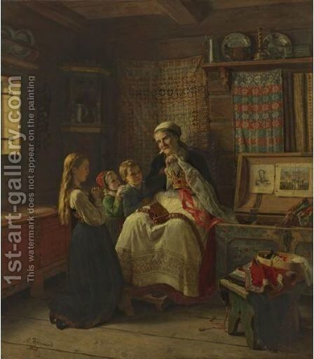 Bestemors Brudekrone by Adolph Tidemand - Reproduction Oil Painting