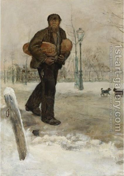 Man Carrying Bread by Jean-Francois Raffaelli - Reproduction Oil Painting