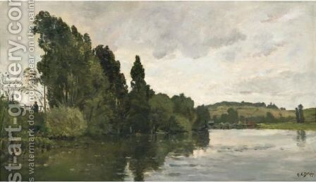 A Busy River Bank by Hippolyte Camille Delpy - Reproduction Oil Painting