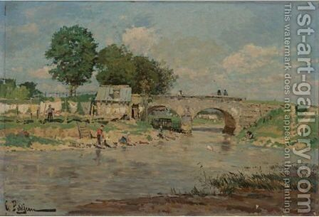 Laundry Day On The River by Edmond Marie Petitjean - Reproduction Oil Painting