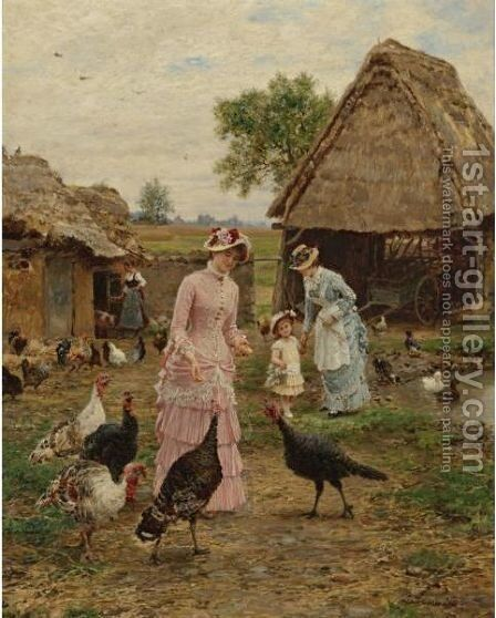 Feeding The Turkeys by Marie Francois Firmin-Girard - Reproduction Oil Painting