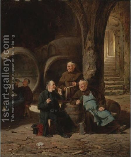 The Wine Connoisseurs by Adolf Humborg - Reproduction Oil Painting