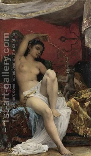 Odalisque Playing With A Monkey by Jacques-Francois-Ferdinand Lematte - Reproduction Oil Painting