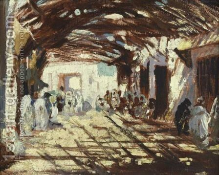 The Medina In Fez (Morocco) by (after) Jose-Herrerilla Cruz - Reproduction Oil Painting