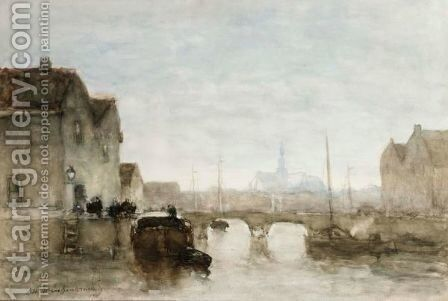 A View On Het Spaarne, Haarlem by Jan Hendrik Weissenbruch - Reproduction Oil Painting