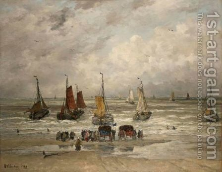 The Fishing Fleet Sailing Out by Hendrik Willem Mesdag - Reproduction Oil Painting