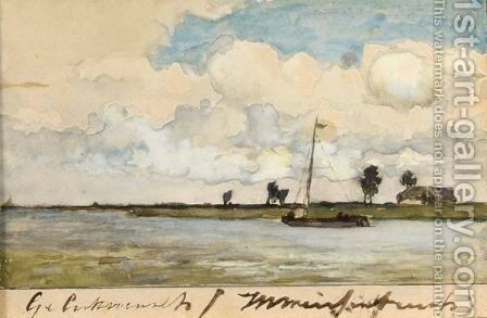 A View Of The Nieuwkoopse Plassen by Jan Hendrik Weissenbruch - Reproduction Oil Painting