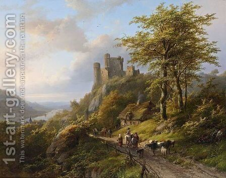 Figures Near A Ruin In A River Landscape by Johann Bernard Klombeck - Reproduction Oil Painting