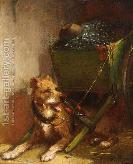 The Dog Cart 2 by Henriette Ronner-Knip - Reproduction Oil Painting