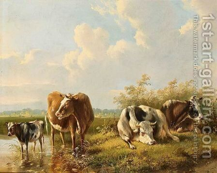 Cows In A Landscape by Albertus Verhoesen - Reproduction Oil Painting