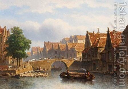 A Canal In A Busy Dutch Town by Eduard Alexander Hilverdink - Reproduction Oil Painting