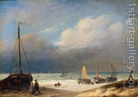 Bomschuiten On The Beach by Nicolaas Johannes Roosenboom - Reproduction Oil Painting