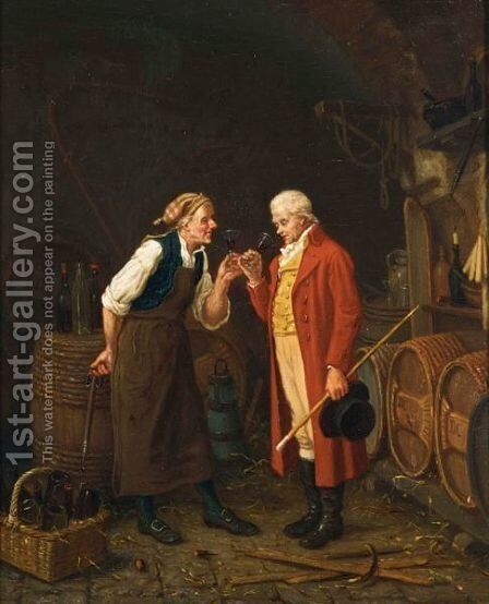 In The Wine Cellar by Jan David Col - Reproduction Oil Painting