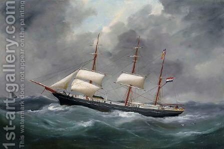 A Portrait Of A Ship by Edouard Adam - Reproduction Oil Painting