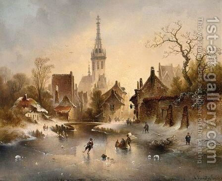 A Winter Landscape With Skaters Near A Village by Charles van den Eycken - Reproduction Oil Painting