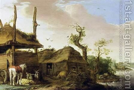 A Farmstead Near a Stream by Cornelis Saftleven - Reproduction Oil Painting