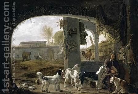 Huntsman Feeding His Dogs c. 1652 by Cornelis Saftleven - Reproduction Oil Painting