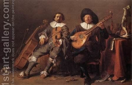 The Duet c. 1635 by Cornelis Saftleven - Reproduction Oil Painting
