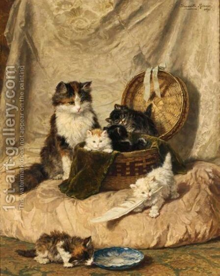 Kittens At Play 2 by Henriette Ronner-Knip - Reproduction Oil Painting