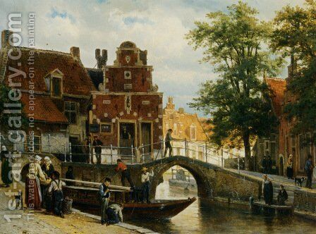 A View Of Franeker With The 'zakkendragershuisje' by Cornelis Springer - Reproduction Oil Painting