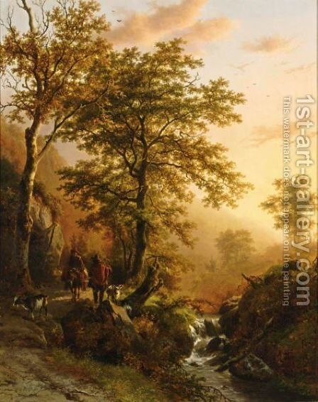 A Traveller And A Herdsman In A Mountainous Landscape by Barend Cornelis Koekkoek - Reproduction Oil Painting
