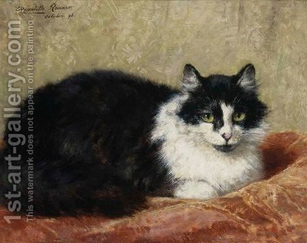 A Cat On A Pillow by Henriette Ronner-Knip - Reproduction Oil Painting