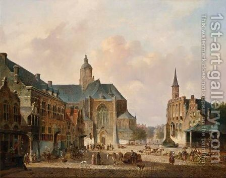 A Busy Day On A Town Square by Cornelis De Kruyff - Reproduction Oil Painting