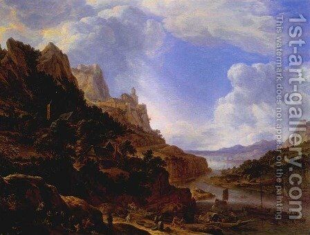 Rhineland Fantasy View 1650 by Herman Saftleven - Reproduction Oil Painting