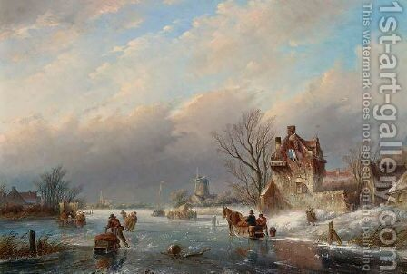Figures On The Ice In A Winter Landscape 2 by Jan Jacob Coenraad Spohler - Reproduction Oil Painting