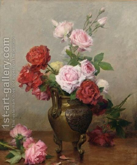 Roses In A Stone Jug by Gustave Bienvetu - Reproduction Oil Painting
