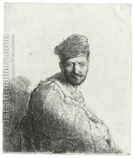 Bearded Man In A Furred Oriental Cap And Robe The Artist's Father by Rembrandt - Reproduction Oil Painting