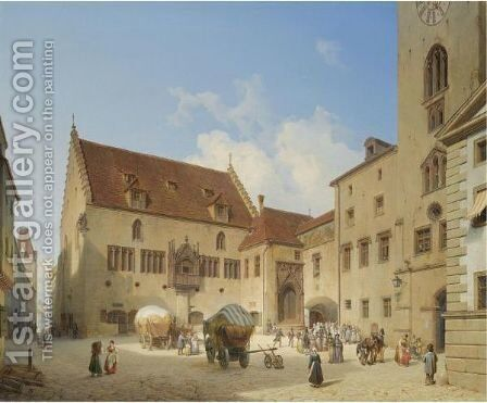 Das Rathaus In Regensburg (The Town Hall In Regensburg) by Michael Neher - Reproduction Oil Painting