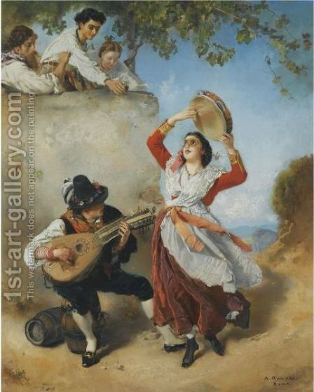 Street Musicians by Anton Romako - Reproduction Oil Painting