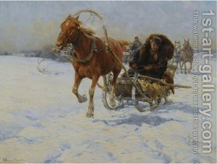 Sleigh Ride 2 by Alfred Wierusz-Kowalski - Reproduction Oil Painting