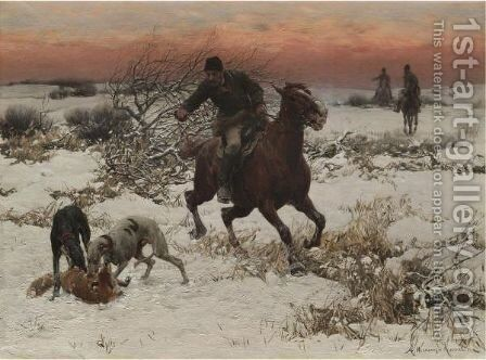 The Hunters by Alfred Wierusz-Kowalski - Reproduction Oil Painting
