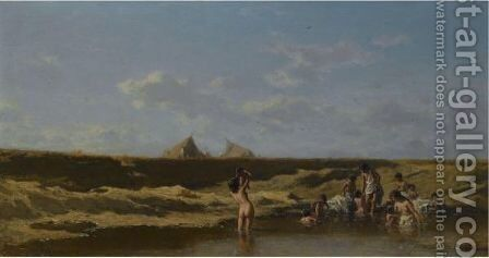 Landscape With Bathing Gypsies by August Xaver Karl von Pettenkofen - Reproduction Oil Painting