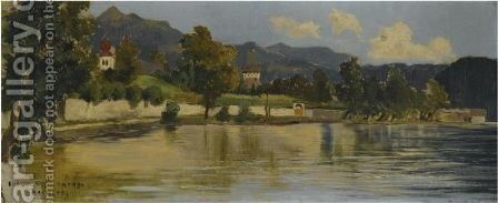 A View Of Millstatt by Theodor von Hormann - Reproduction Oil Painting